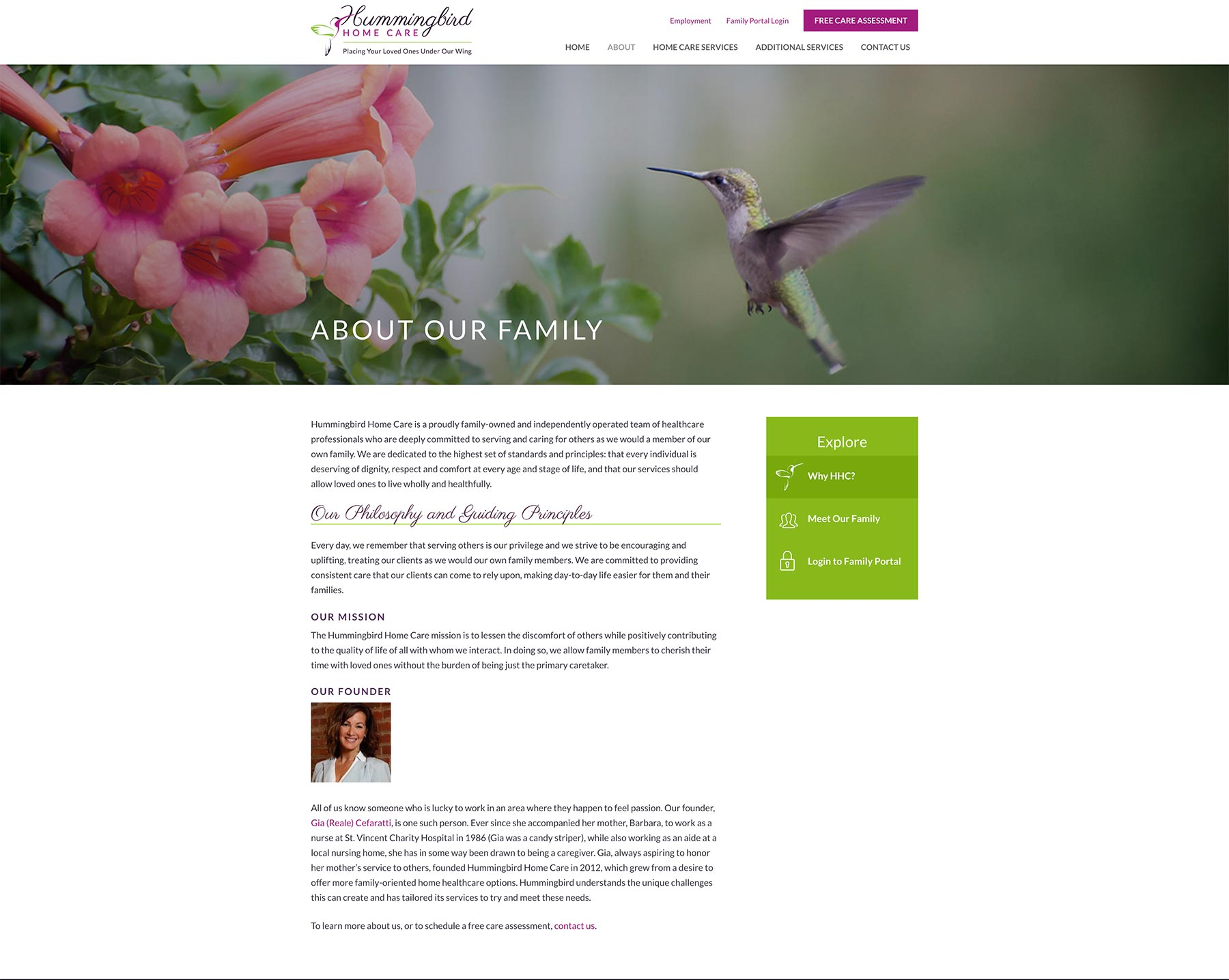 hummingbird home care website